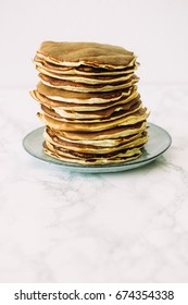 Delicious pancakes on white background. Morning and breakfast concept