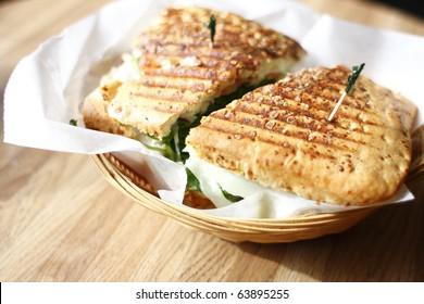 A delicious panini sandwich.
