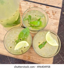 Delicious Passionfruit Mojito Drinks (Aerial View) - Sydney, Australia