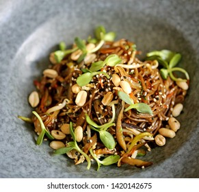 Delicious pasta with buckwheat noodles photographed close up