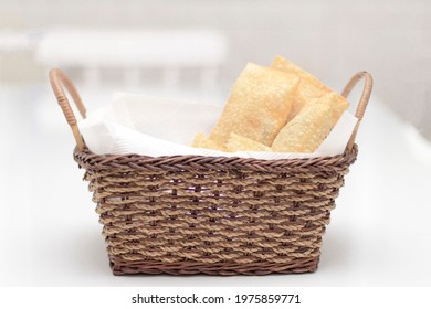 Delicious pastel Brazilian food in the basket