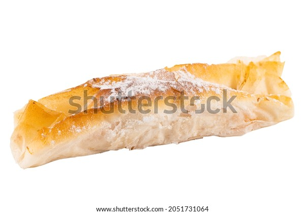 Delicious pastel de Vouzela on white background.