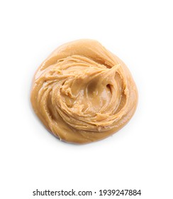 Delicious peanut butter isolated on white, top view