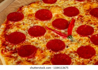 Delicious peperoni pizza with pepper