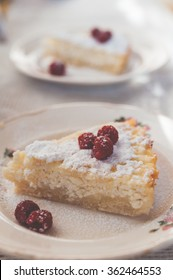 delicious pie with cottage cheese with raspberry topping