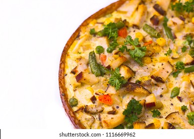 Delicious pie : homemade tart with cheese, smoked chicken vegetables.