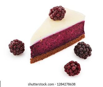 Delicious piece of blackberry cheesecake with berries isolated on white background