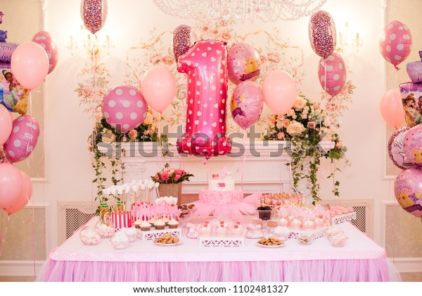 Delicious Pink Candy Bar Of Birthday Party For One Year Old Girl Dessert Table