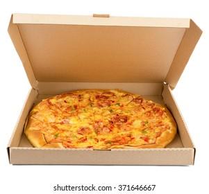Delicious pizza in box