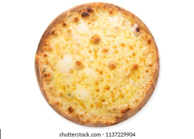 Delicious pizza Four Cheeses with cheddar, Parmesan, mozzarella and tomato sauce. Isolated on white. View from above.