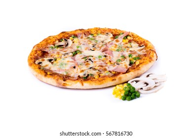 Delicious pizza with ingredient on isolated white background, with copy space