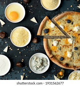 Delicious Pizza making process. Ingredients and whole cooked pizza on black background. High angle view. Traditional italian food. Nutrition dinner or lunch. Squire format 1x1.