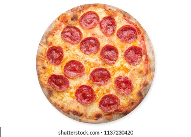 Delicious pizza with pepperoni, cheese and tomato sauce. Isolated on white. View from above.