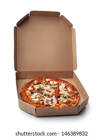 Delicious pizza ready for delivery.
