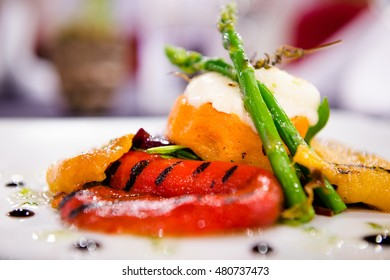 A delicious plate of fresh food in a stylish restaurant