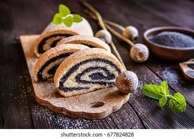 Delicious poppy seed strudel sprinkled with powdered sugar