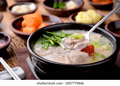 Delicious pork and rice soup in a bowl