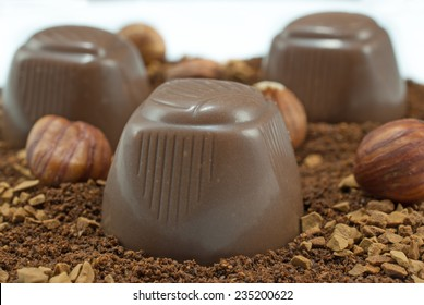 Delicious pralines with hazelnuts on white background
