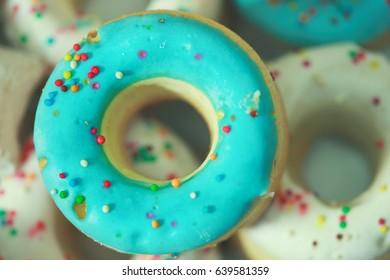 Delicious pretzels with blue glaze