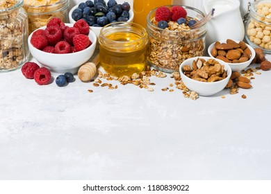 delicious products for a healthy breakfast on white background, horizontal