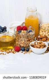 delicious products for a healthy breakfast, vertical closeup