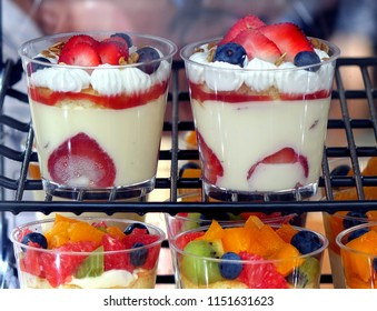 Delicious pudding with fresh strawberries and other fruit
