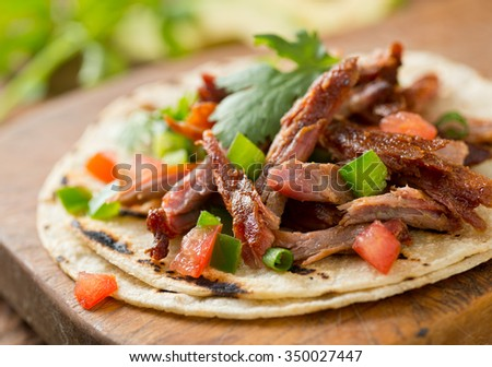 A delicious pulled pork taco with tomato, jalapeno pepper, green onion, and cilantro on a grilled corn tortilla.