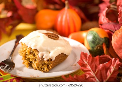 Delicious pumpkin cake with frosting.  Just in time for Autumn and Halloween.