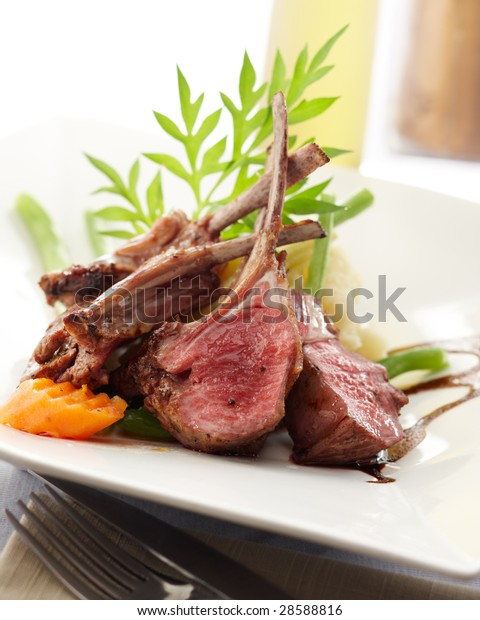 delicious rack of lamb, shallow depth of field