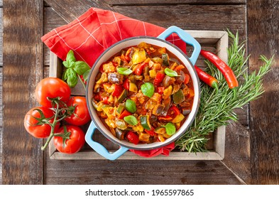 Delicious ratatouille with fresh vegetables and herbs