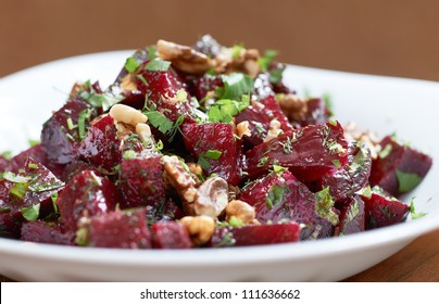 Delicious red beet salad with fennel and walnuts