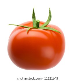 Delicious red plump tomato isolated over white background