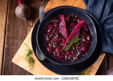 delicious red pray soup after Russian style