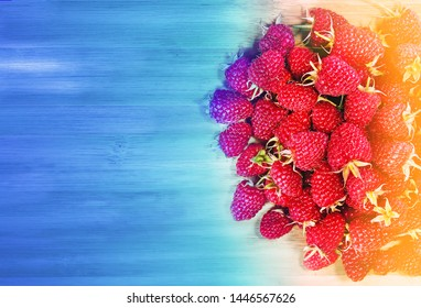 Delicious red raspberries photographed in close up