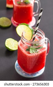 Delicious and refreshing watermelon and lime drink with mint leaves