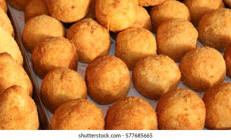 delicious rice balls made with fried rice. typical dish of Mediterranean cuisine called Arancini