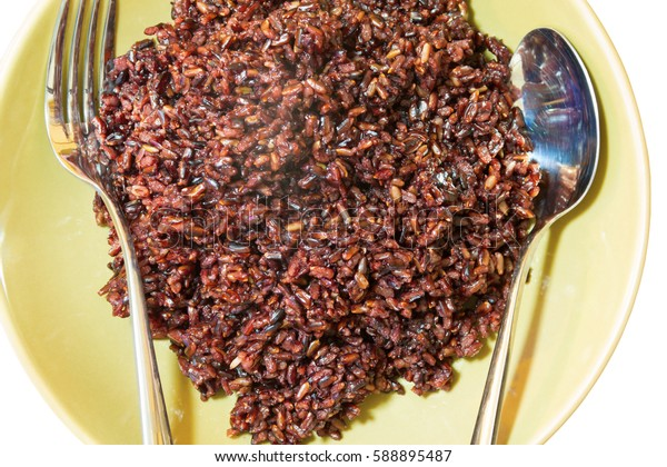 delicious rice berry on brown dish