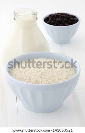 Delicious rice pudding ingredients.
