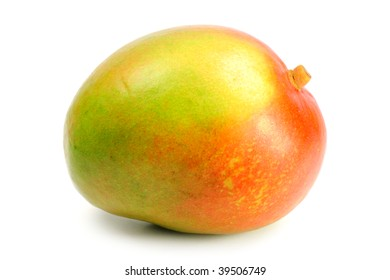 delicious ripe mango fruit on white background