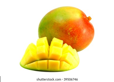 "delicious ripe mango fruit with a slice carved ""hedgehog style"" on white background"