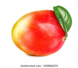 Delicious ripe mango with green leaf isolated on white