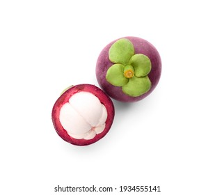 Delicious ripe mangosteen fruits on white background, top view