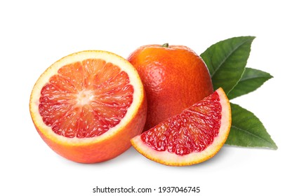 Delicious ripe red oranges on white background