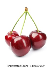 Delicious ripe sweet cherries on white background