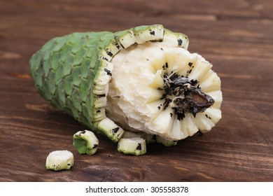 Delicious, ripe and sweet exotic fruit of monstera deliciosa, called  ananas - banana (pineapple - banana) in Madeira. Safe to eat if the fruit is ripe, unripe pieces are poisonous and toxic