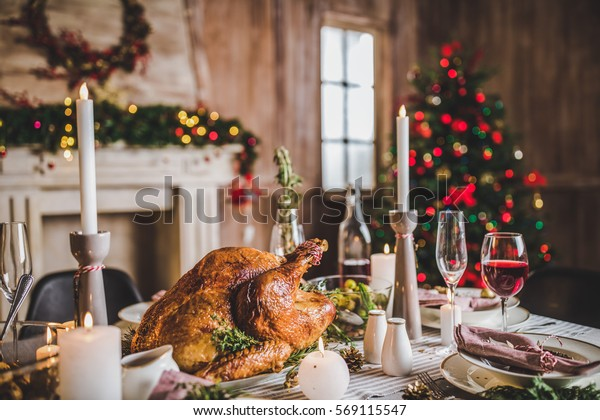 Delicious roasted turkey on served for Christmas table