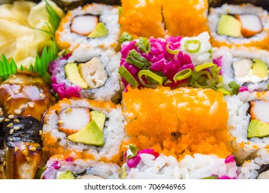 Delicious rolls and sushi with eel, salmon, avocado and philadelphia. Close up.