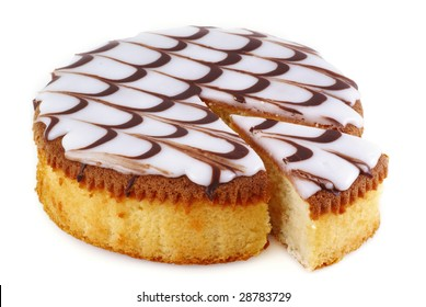 Delicious round cake on a white background.