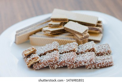 delicious russian waffles with chocolate and cookies with nougat and coconut