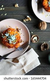 delicious rustic pumpkin pancakes, top view, food